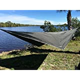 Night Guardian Hammock Rain Fly - 70D Oxford Polyester - RipStop Quality - Strong Ropes and Pegs With Carrying Pouch - by Krazy Outdoors TM - (Dark Green)