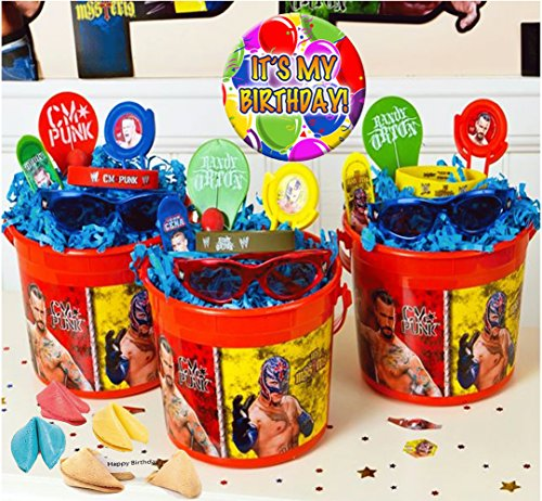 World Wrestling Entertainment ''WWE'' Inspired (3) Pre-Filled Party Favors Treat Buckets! Plus Bonus ''It's My Birthday Pin'' by WWE