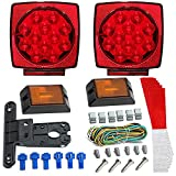 LED Trailer Light Kit - JUNGLEROAD 2018 New 12V Universal, Easy Assembly | Attachable Tail Lights with Wiring Harness, License Plate Bracket, Reflective Stickers