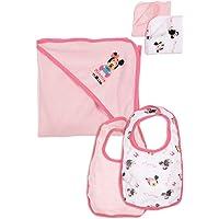 Minnie Set de capa de baño, 2 baberos y 2 pañuelos para bebé niña rosa TU (0-12 meses) – Rosa, Talla Única