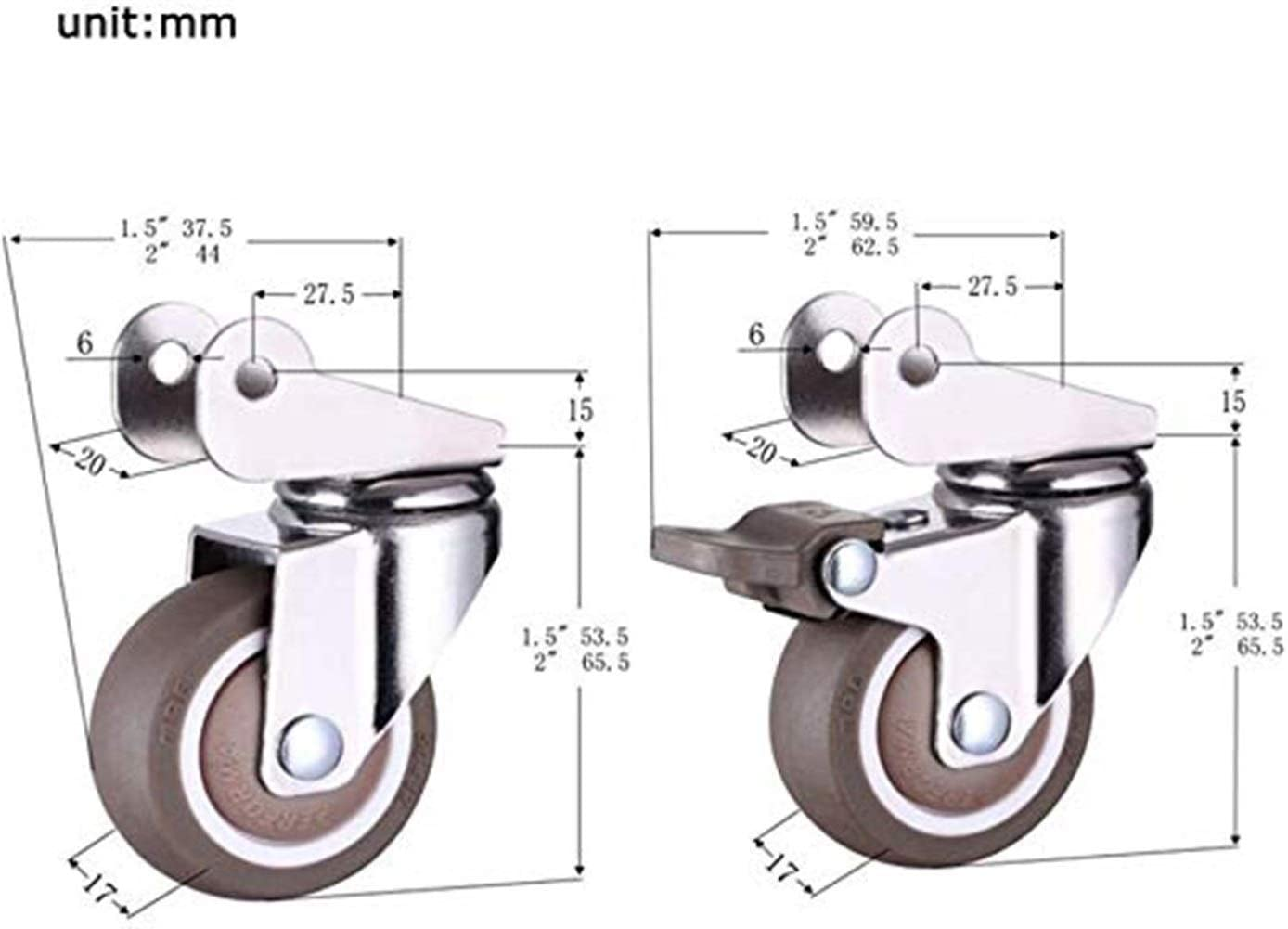 Cylficl 4PCS Rolling Silent Rubber Crib Wheels Wheels Wheel Brace Universal Swivel Brake 1.5 Inch 40mm 2 Inch 50mm Color : B, Size : 1.5in