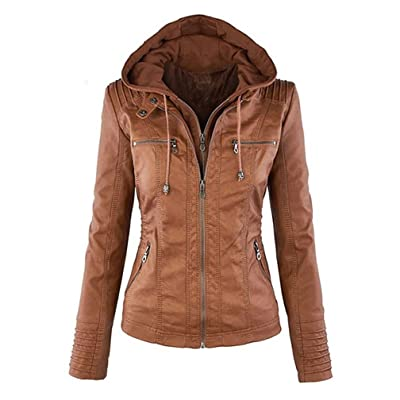 Seamido Women's Faux Leather Jacket Removable Hoooded Leather Jackets at Women's Coats Shop