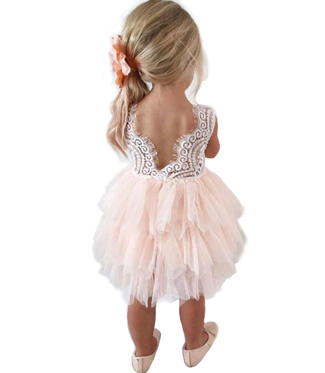 Backless A-line Lace Back Flower Girl Dress (0-6 Month, Pink)