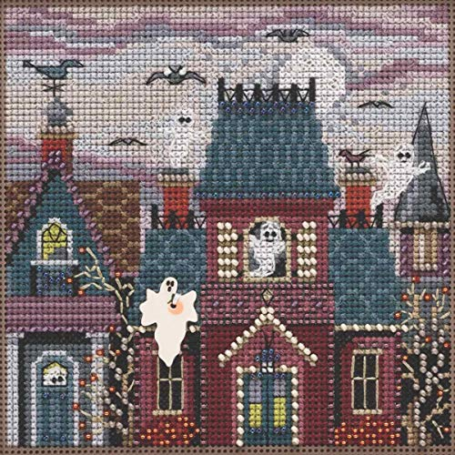 Ghost Town Beaded Counted Cross Stitch Kit Mill Hill 2019 Buttons & Beads Autumn MH141923]()