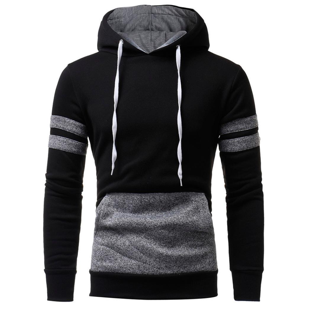 HTHJSCO Hoodie Coats, Men's Sweater Jackets Warm Hooded Sweatshirt Outwear Tops Pullover Jacket with Pocket (Black, M)