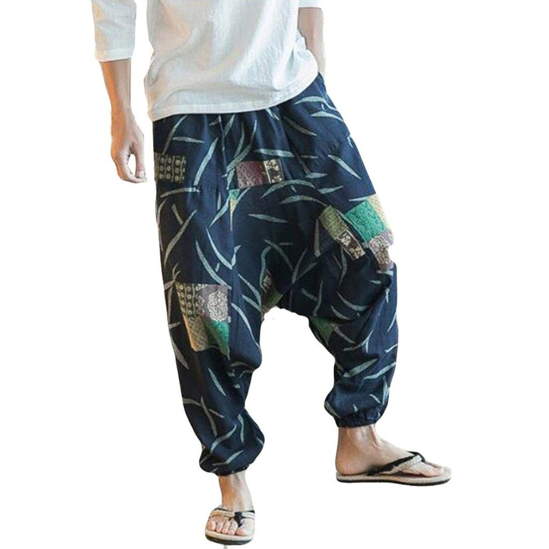 OWMEOT Mens Womens Boho Hippie Baggy Cotton Harem Pants with Pockets - Spiral Design