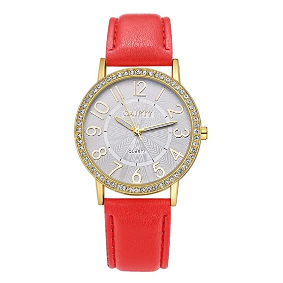 Mujer brillantes Reloj de pulsera Cuero Pulsera Reloj Analógico para Mujer Quartz Reloj Rojo