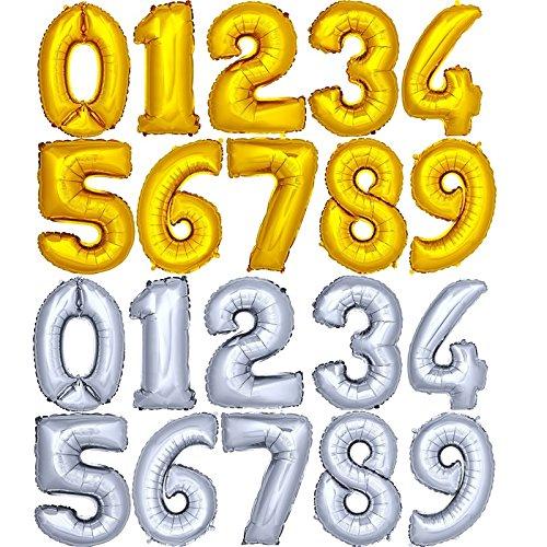 Folienballon Zahlenballon Heliumballon Alle Zahlen In Gold Und Silber Ca 120cm Zahl 9 Gold Hochglanz