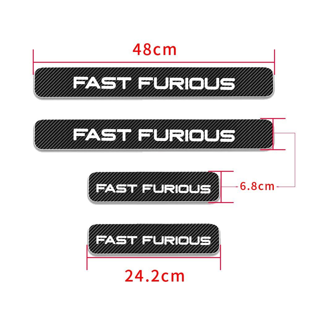 AntiGraffio di Protezione per Soglie delle Porte 4D Adesivi in Fibra di Carbonio per Batticalcagno Auto con la Parola Fast Furious Bianco 4 Pezzi