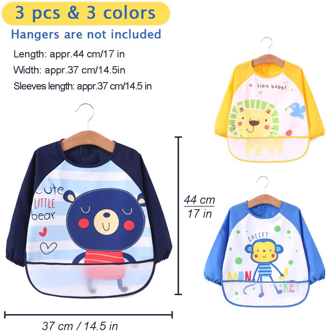 3pcs Kids Boy Bibs Waterproof Long Sleeve Girl Bibs Kids Burp Cloth Feeding Bib with Pocket Child Apron Smock 6-36 Months