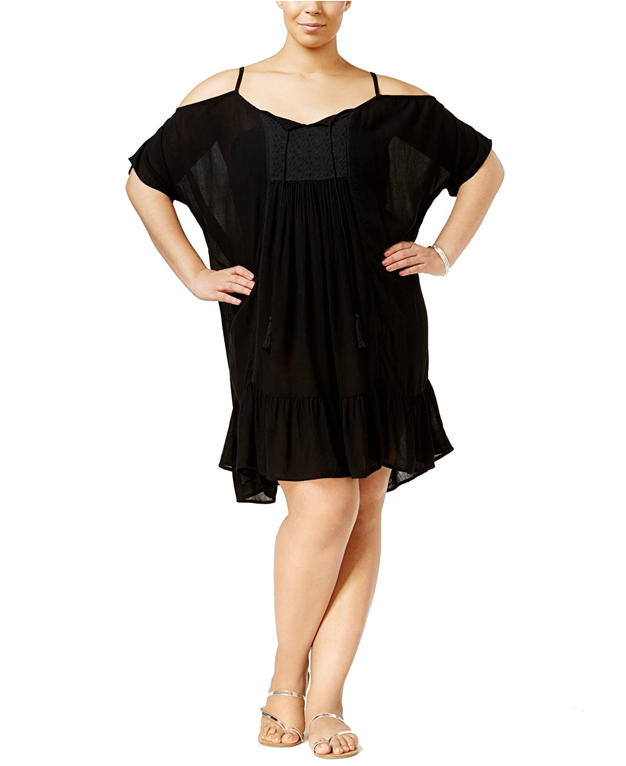 Raviya Women's Plus Size Cold-Shoulder Peasant Cover-up