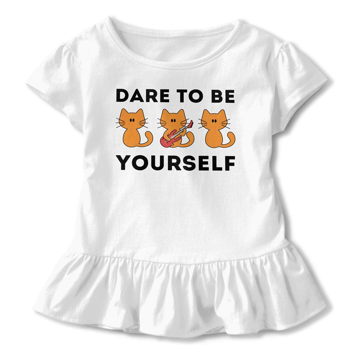 Dare to Be Yourself Toddler Baby Girls Cotton Ruffle Short Sleeve Top Comfortable T-Shirt 2-6T