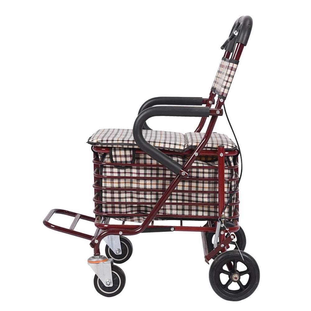 高齢者の人々折り畳み式ショッピングトロリー、食料品カート100kgまでの荷重容量、フロントホイールのスマートユニバーサルホイール、ダブルブレーキデザイン、座席を備えたプッシュ可能な高齢者多機能。  Red B07HVW1ZSX