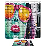 KOTOM NYMB Art Paintings Decor, Sex Woman with Red Lips Print on Wall 69X70in Mildew Resistant Polyester Fabric Shower Curtain Suit With 15.7x23.6in Flannel Non-Slip Floor Doormat Bath Rugs