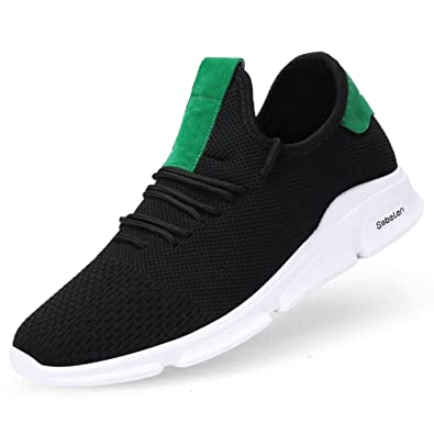 8fa4b19b8a66 OHCHSH Sneakers for Mens Running Shoes Lightweight Mesh Sneakers Flexible  Rubber Sole Shoes Black 6.5