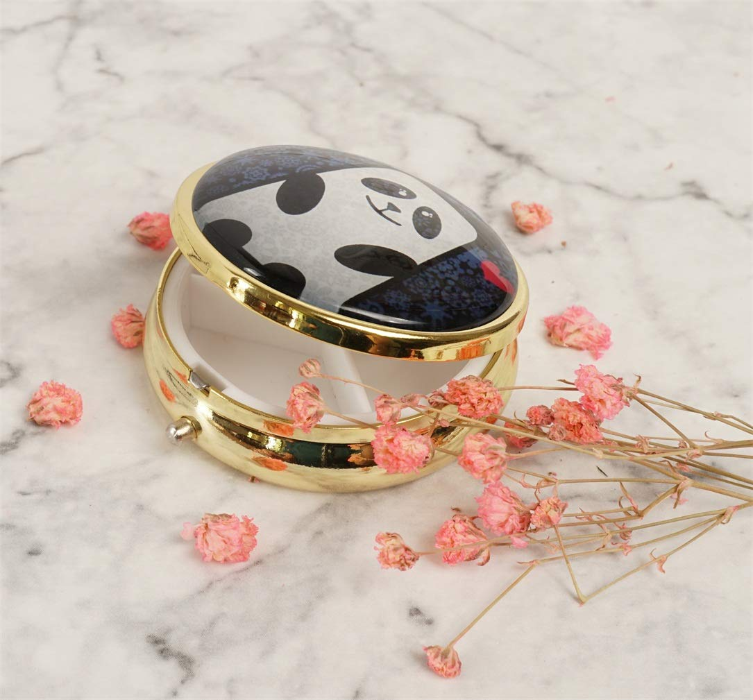 YunShop Love Custom Image Stainless Steel Gold Glass Pill Case Portable Pocket Travel Pill Box Storage Container