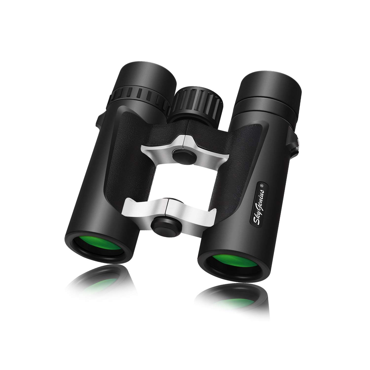 Small Compact Lightweight Binoculars for Travel(Waterproof/Fogproof), Powerful Pocket Binoculars 8x25 for Adults Kids Bird Watching Concerts Sightseeing Hunting Wildlife Watching (BAK4, Green Lens) by SkyGenius