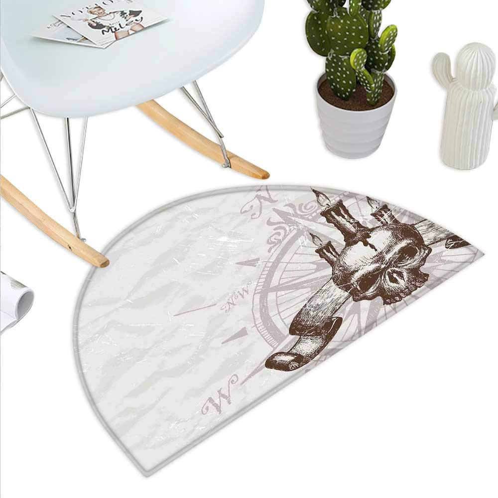 color11 H 23.6  xD 35.4  Compass Semicircle Doormat Boating Windpink with Ship Rope on a Wooden Background Marine Life Inspired Design Halfmoon doormats H 27.5  xD 41.3  Tan Brown