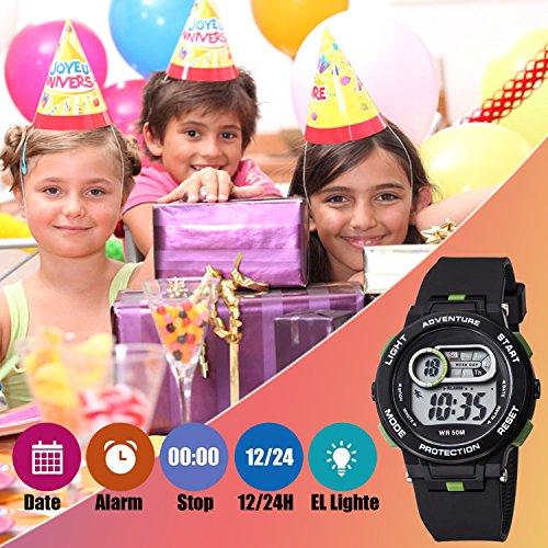 Kid Watch For Boy Girl LED Multi Function Fashion Sport Outdoor Digital Wristwatch Dress Waterproof Alarm Black Green by AXSPT (Image #1)