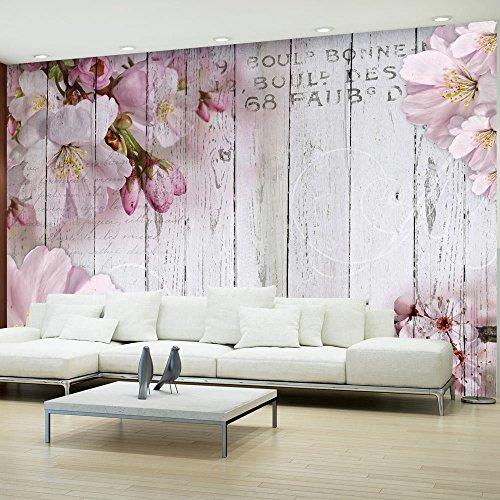 Vlies Fototapete 300x210 cm - 3 Farben zur Auswahl - Top - Tapete - Wandbilder XXL - Wandbild - Bild - Fototapeten - Tapeten - Wandtapete - Wand - Blumen Holz Bretter b-A-0202-a-b
