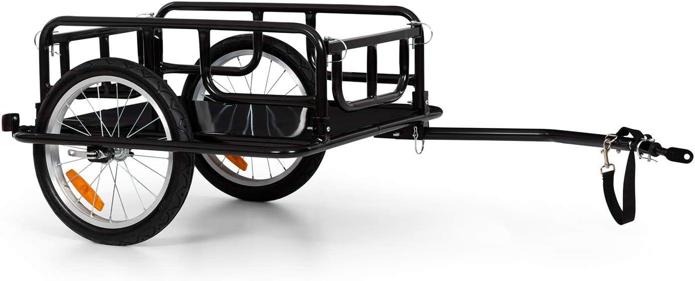 Klarfit OX - Remolque de bicicleta, Superficie de 42 x 65 cm, 65 litros, 2 cajas de bebidas, Resiste 40 kg de carga, Plegable, Desmontable, Reflectores blanco y rojo, Estructura de acero, Negro