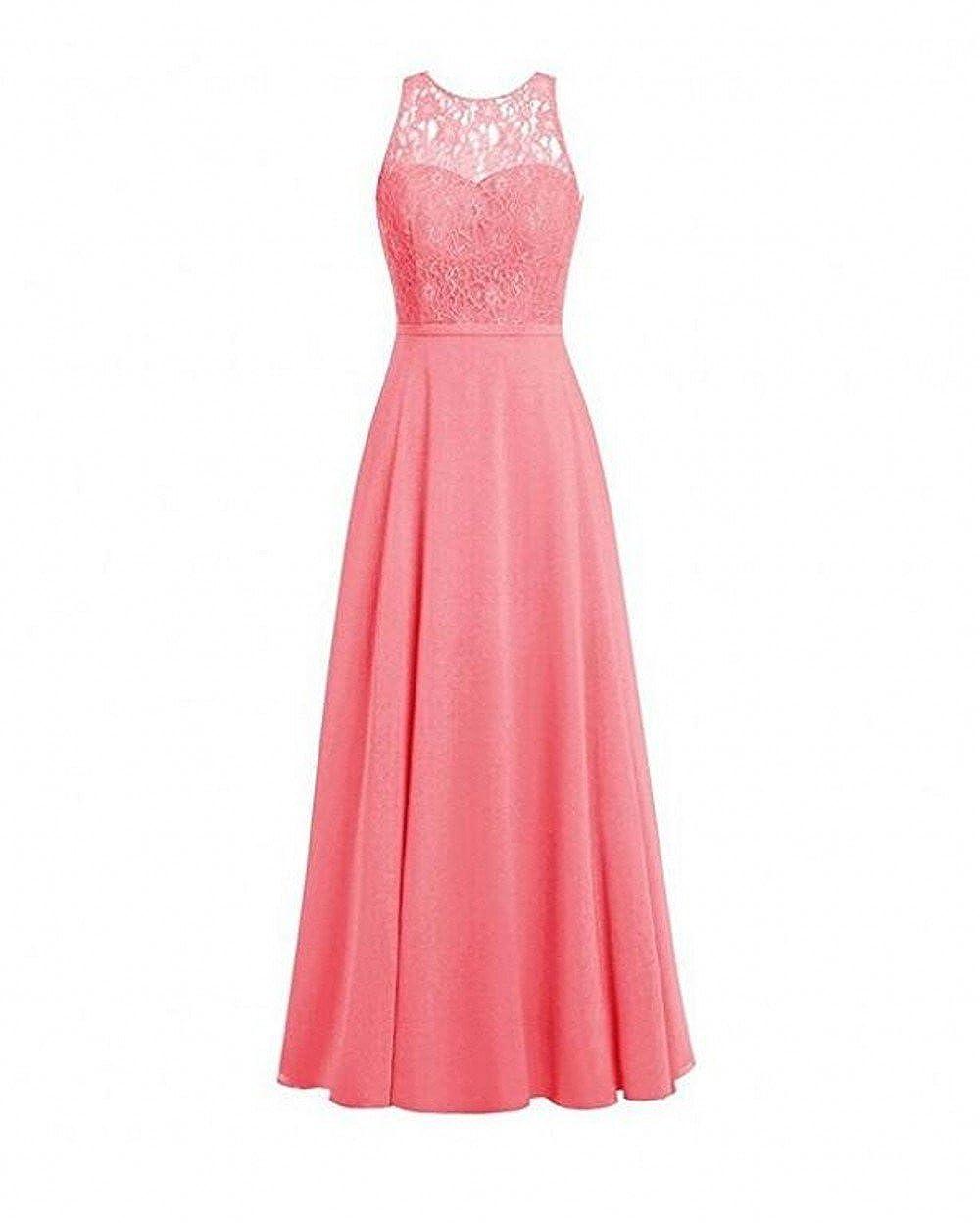 13b8b7e7d506f Botong O-Neck Long Chiffon Bridesmaid Dresses Sleeveless Lace Prom Party  Gown at Amazon Women's Clothing store: