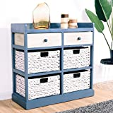 Giantex End Table w/Drawers and Baskets Beside Table Nightstand Wood Drawer Cabinet Home Office Collection Solid Wood Accent Storage Organizer (2 Drawers & 4 Baskets)