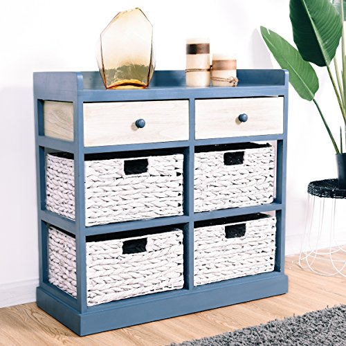 Giantex End Table w/Drawers and Baskets Beside Table Nightstand Wood Drawer Cabinet Home Office Collection Solid Wood Accent Storage Organizer (2 Drawers & 4 Baskets) by Giantex