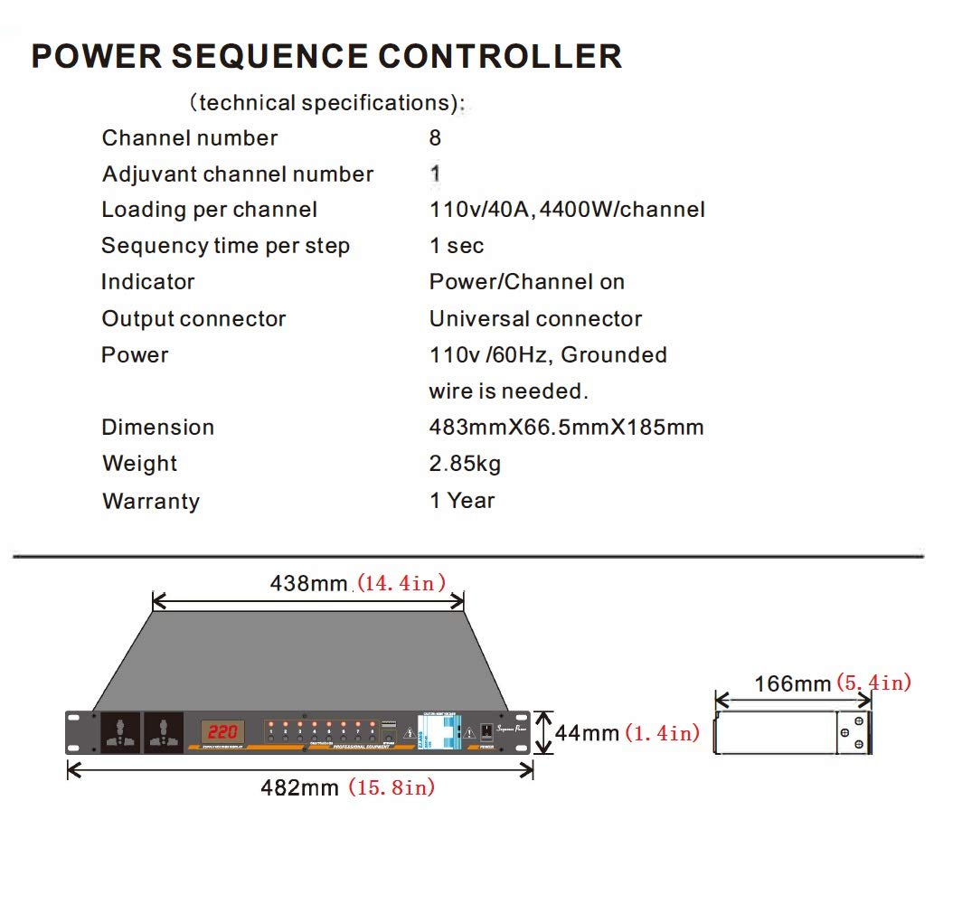 Power Sequencer -Professional Power Controller Relay with 8 way,40A per channel/10 Outlets,gift for One USB Light by ADS POWER (Image #7)