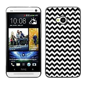 Dragon Case - FOR HTC One M7 - Black and white small waves - Caja protectora de pl??stico duro de la cubierta Dise?¡Ào Slim Fit