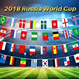 "2018 World Cup String Flag Russia Soccer Football Flags Banner World Cup Top 32 Teams Flags for Bar, Fan Clubs, KTV, Party, Game Night Decorations Size 11""7.9"""