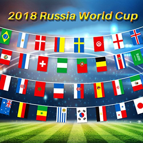 "Banner Flag Football Team (2018 World Cup String Flag Russia Soccer Football Flags Banner World Cup Top 32 Teams Flags for Bar, Fan Clubs, KTV, Party, Game Night Decorations Size 11""7.9"")"