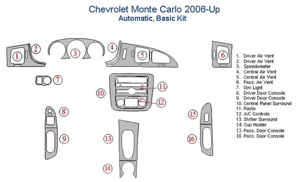 Chevrolet Monte Carlo Basic Dash Trim Kit - Real Carbon Fiber