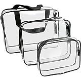 PVC多機能防水ウォッシュバッグ 旅行出張用 透明化粧品バッグ トイレタリー整理バッグ 3個セット (ブラック)