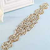 Crystal Rhinestone Sash Belt Applique Handcrafted Sparkle Sewn or Hot Fix for Bridal Wedding Dresses Women Gown Evening Prom Clothes -1 Piece (Gold)