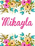 Mikayla: Personalised Name Notebook/Journal Gift For Women & Girls 100 Pages (White Floral Design)