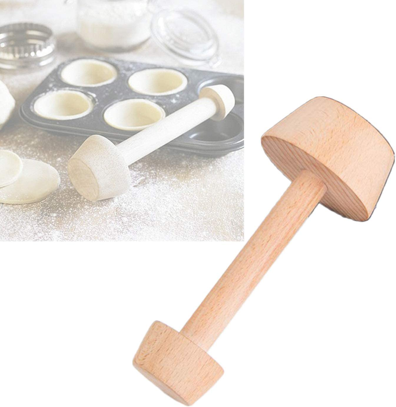 Beige Monoche DIY Egg Tart-Tamper 8.3 x 2.6 x 2.6 inches Double Side Wooden Egg Tart Cake Pusher Forming Machine Cake Baking Shaping Tools