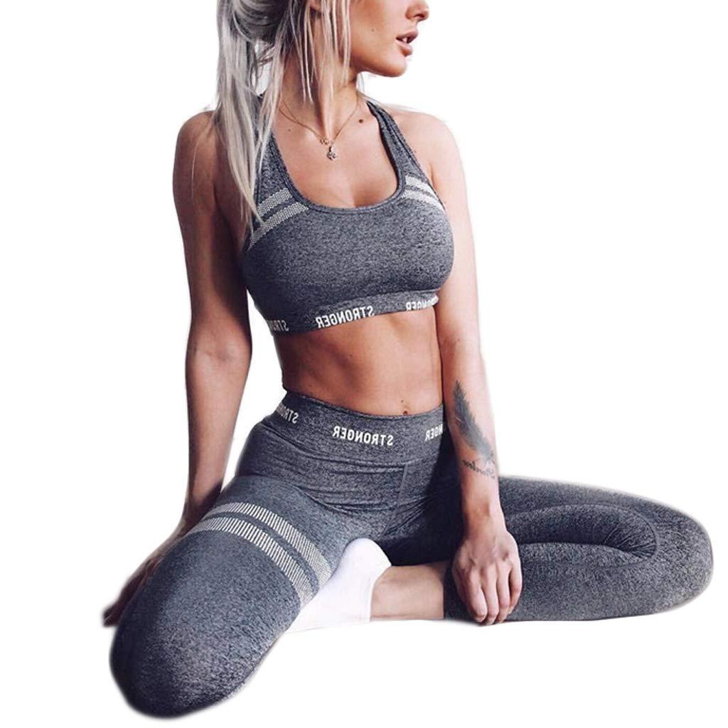 jiuloner-Women 2Pcs Sport Outfit Letters Seamless Crop Top Vest High Waist Leggings Honeycomb Striped Yoga Suit F