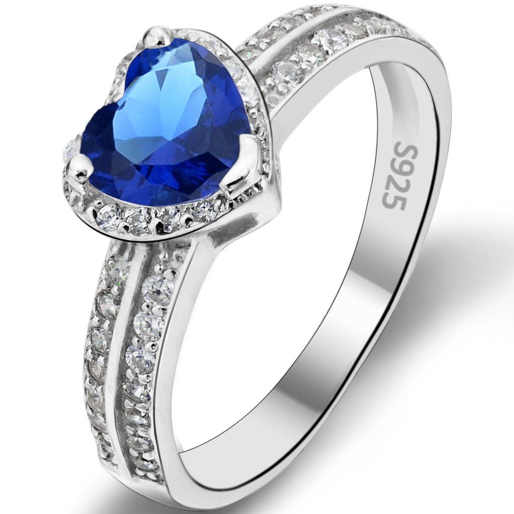 Ever Faith 925 Sterling Silver Romantic Love Heart Cut CZ Daily Ring Blue Sapphire-color