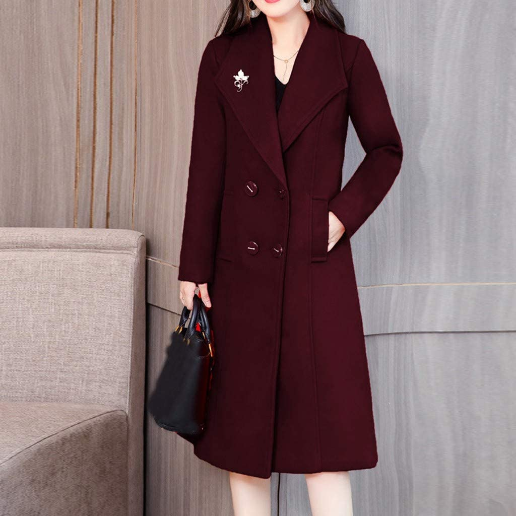 Yowablo Mantel Damen Künstlich Wool Coat Solide Vintage Winter Office Langarm Wolljacke Wein