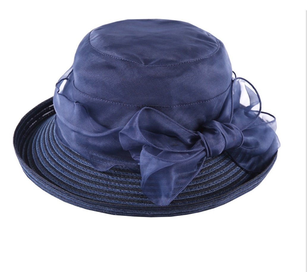 Navy bluee Hat Female Summer Sunscreen Folding Sun Hat Wild Bow Shade Beach Hat ZXCV