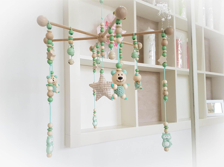 Baby Holz-Mobile für Babybett, Kinderbett Babywiege (Natur, Mint, Teddy)