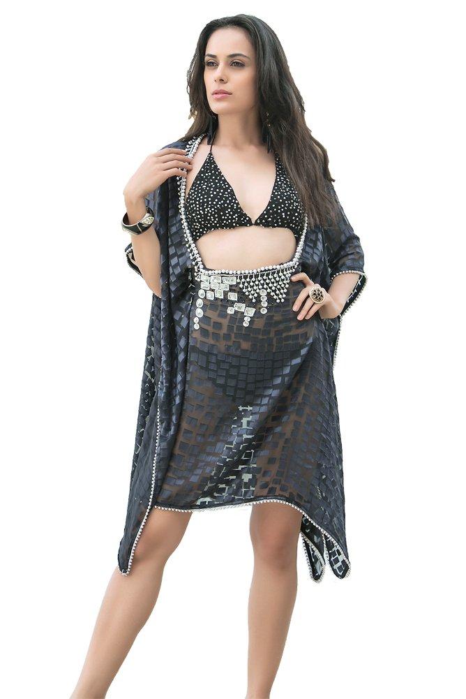 Kolkozy Fashion Women's Hand Beaded Cover Ups Color Gray by Kolkozy Fashion
