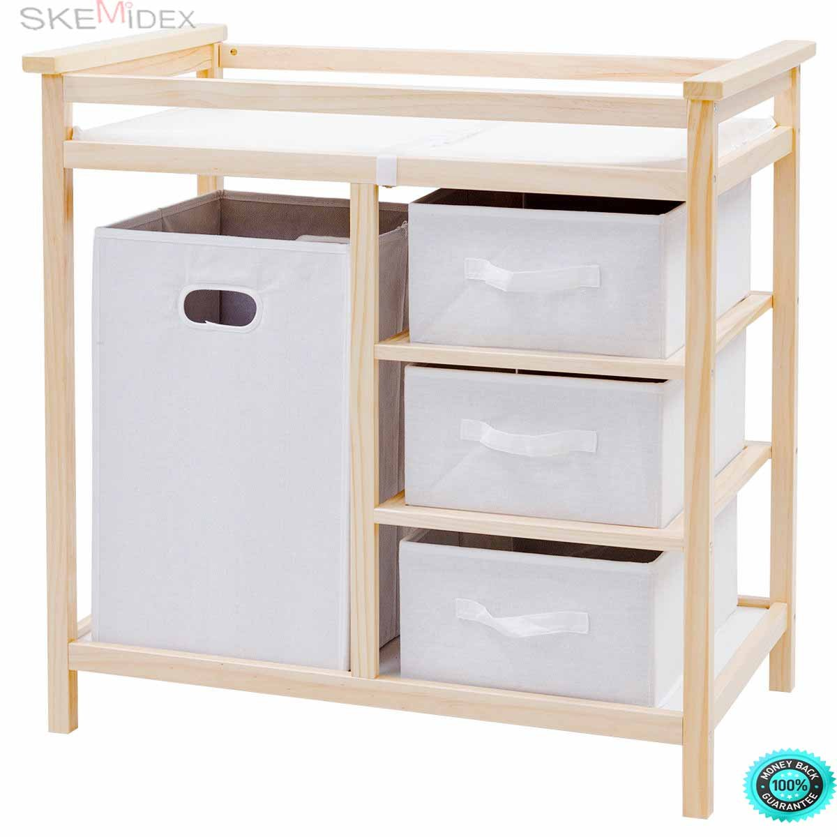 SKEMiDEX---Natural Infant Baby Changing Table w/3 Basket Hamper Diaper Storage Nursery New This Baby Changing Table keeps everything tidy and concealed for a clean look in the nursery large hamper