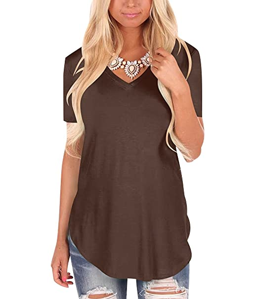 T Shirt V Ausschnitt Damen Lange T Shirts Kurzarm Frauen Oversize Shirt  Lockere Long Print Shirts db6d4eb64a