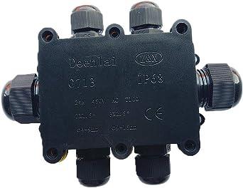 Caja de derivación conector de cable puede IP68 impermeable para exterior – negro eléctrico externo acoplador, conector de cable puede, cable Gland 12 mm-15 mm diámetro del cable: Amazon.es: Iluminación