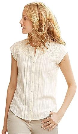 4ec930268a Orvis Lace-Yoke Cap-Sleeved Shirt at Amazon Women's Clothing store: