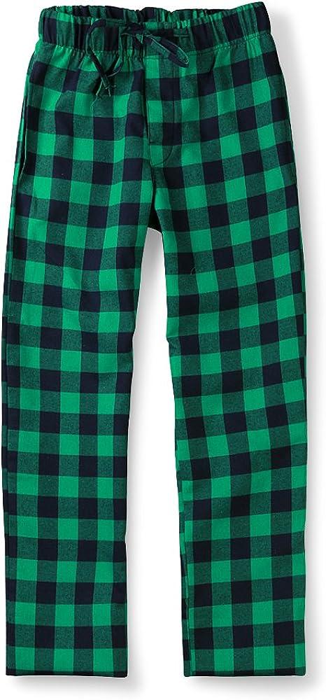 OCHENTA Men's Cotton Woven Pajama Lounge Pant, Plaid Soft Sleepwear