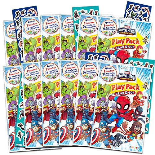 Marvel Super Hero Adventures Party Favors Pack ~ Bundle of 12 Superhero Adventures Play Packs with Stickers, Coloring Books, and Crayons with Bonus Stickers (Super Hero Adventures Party Supplies)