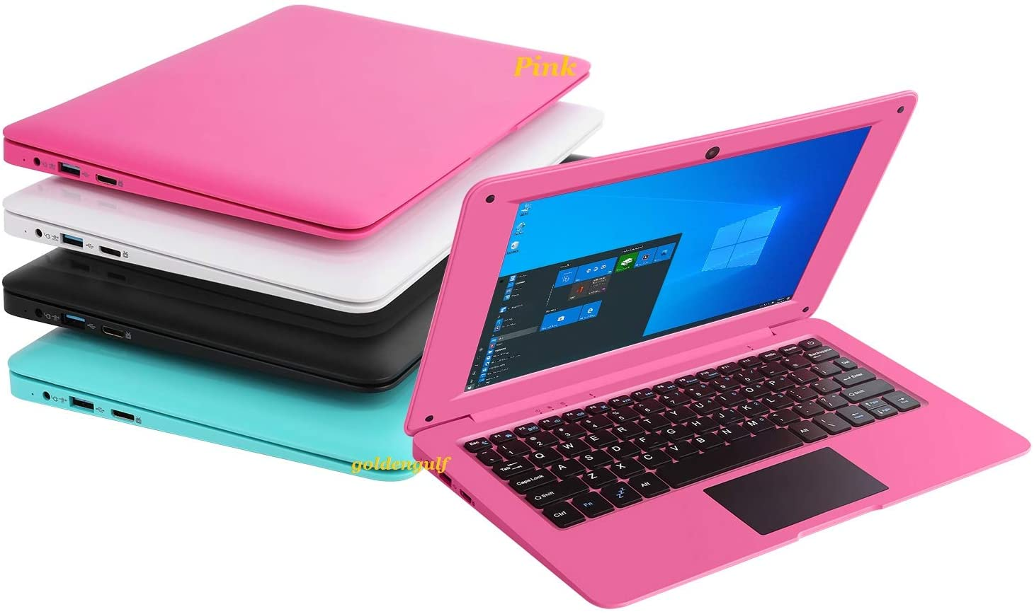 Goldengulf Windows 10 Computer Laptop Mini 10.1 Inch 32GB Ultra Thin and Light Netbook Intel Quad Core CPU PC HDMI WiFi USB Netflix YouTube (Pink)